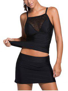 Hollow Out Tankini Top And Skirted Bottoms - Black 2xl