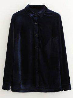 Single-Breasted Velvet Shirt - Purplish Blue L