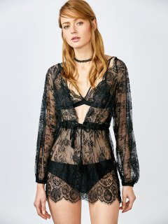 See Thru Lace Plunging Neck Babydoll - Black S