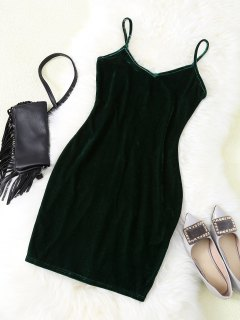 Velvet Strappy Bodycon Slip Dress - Vert S