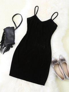 Vestido Ajustado Con Tiras De Terciopelo Slip - Negro S