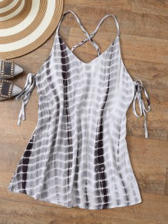 Tie Dyed Slip Shift Dress - White S