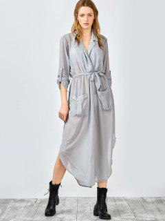 3/4 Sleeves Side Slit Asymmetrical Wrap Dress - Gray S