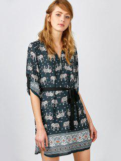Elephant Print V Neck Tunique - Noir Xs