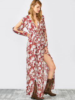 Split Sleeve Plunging Neck Maxi Overlay Romper - Floral S