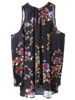 Tied Cold Shoulder Floral Blouse - Black S