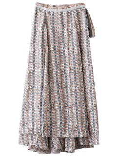 Printed Wrap Maxi Skirt - Blue M