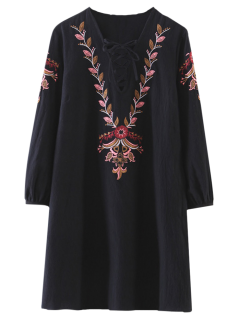 Embroidered Lace-Up A-Line Dress - Black S