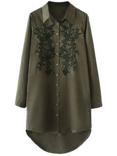 Floral Embroidered High Low Shirt Dress - Army Green M