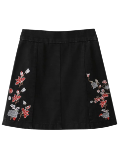 Zippered Floral Denim Skirt - Black S