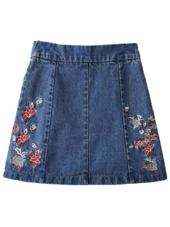 Zippered Floral Denim Skirt - Blue S