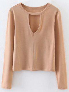 Keyhole Layering Top - Light Khaki L