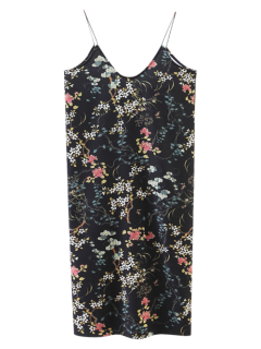 Floral Pinafore Cami Robe - Noir M