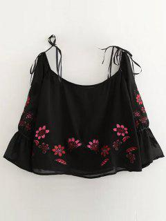 Floral Embroidered Off Shoulder Blouse - Black M