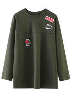 Oversized Patched Top - Army Green S