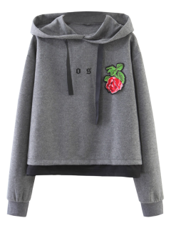 Patched Layered Hoodie - Gray S
