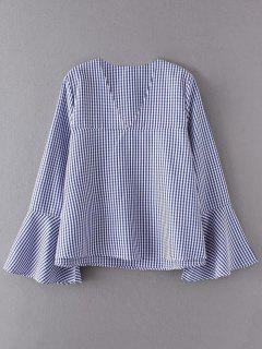 V Neck Plaid Flare Sleeve Blouse - Blue S