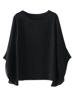 Asymmetric Flare Sleeve Chiffon Blouse - Black L
