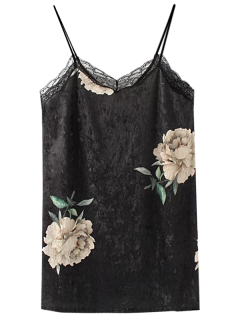Floral Lace Velvet Slip Dress - Black S