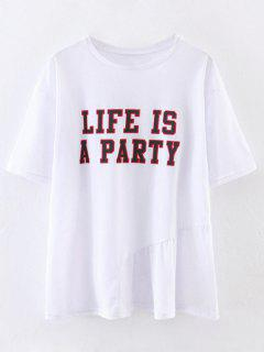 Oversized Life Is A Party T-Shirt - White S