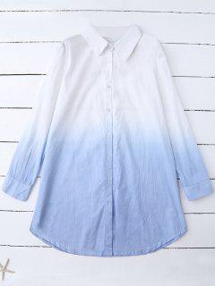 Ombre Couleur Chemise Oversize - Bleu M