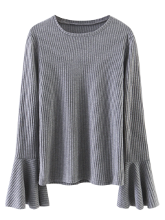 Superposition Manches Flare Top - Gris M