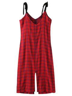 Robe Chasuble Fendue à Carreaux - Rouge L