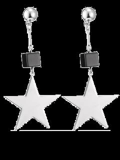 Boucles D'oreilles En Fausse Agate à Pendants D'étoiles - Argent