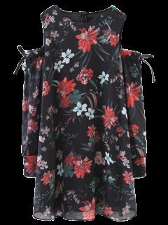 Florales Del Hombro Vestido De La Vendimia - Negro S