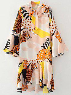 Llamarada De La Manga De La Pajarita Vestido Estampado Cuello - Rosa Beige  S