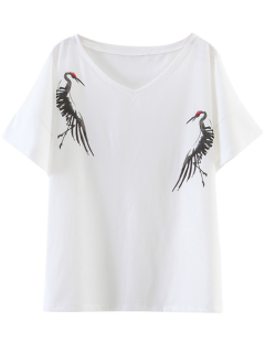 Side Slit Grues T-shirt Imprimé - Blanc S