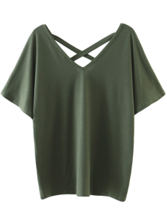Oversized Crosscriss Top - Army Green L