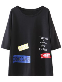 Oversized Patched Tee - Black S