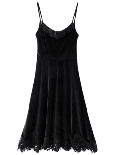 Cami Velvet Fit And Flare Dress - Black S