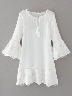 Flare Sleeve Laser Cut Tassels Dress - White S