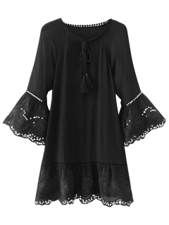 Flare Sleeve Laser Cut Tassels Dress - Black L