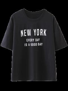 Drop Shoulder Letter T-Shirt - Black M