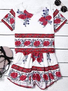 Impresión Floral De Cultivos Tapa Y Los Pantalones Calientes Twinset - Blanco Xl