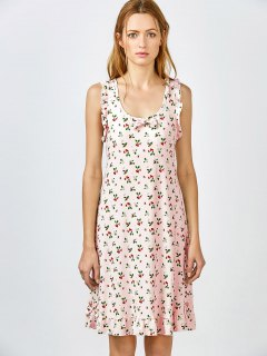 Bowknot Frilled Sleep Dress - Pink Xl