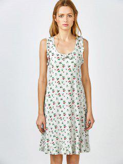 Bowknot Frilled Sleep Dress - White Grey M