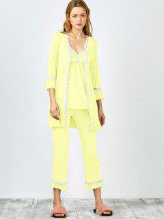3 Pieces Lace Open Front Sleepwear Suits - Yellow Xl
