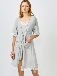 Kimono Et Pyjama à Bordures En Dentelle - Gris M