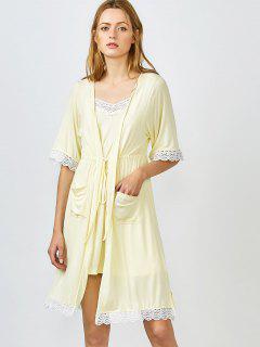 Con Borde De Encaje Cami Ropa De Noche Con El Kimono - Amarillo Xl