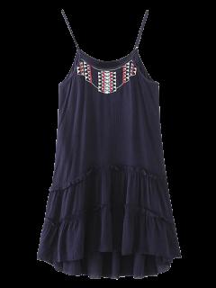 Embroidered Ruffles Cami Dress - Purplish Blue L