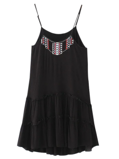 Embroidered Ruffles Cami Dress - Black L