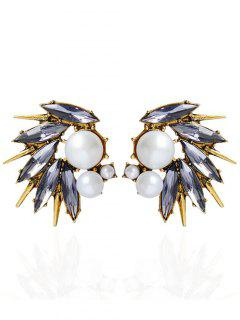 Rhinestone Artificial Pearl Stud Earrings - Golden