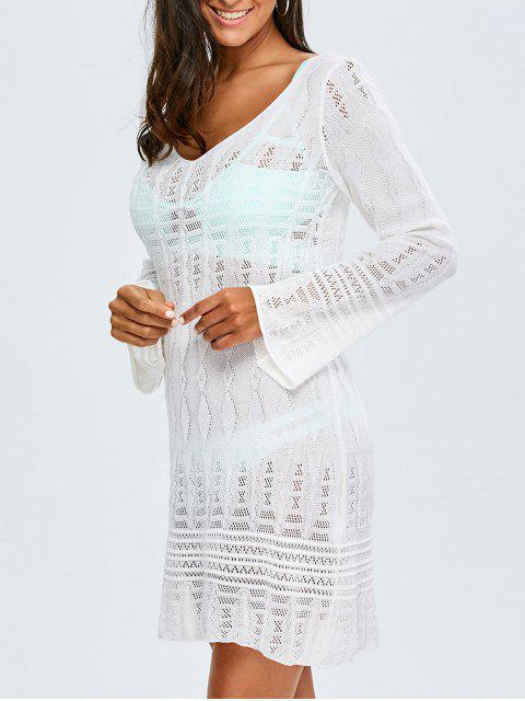 fashion Long Sleeve Crochet Cover-Up - WHITE ONE SIZE(FIT SIZE XS TO M) Mobile