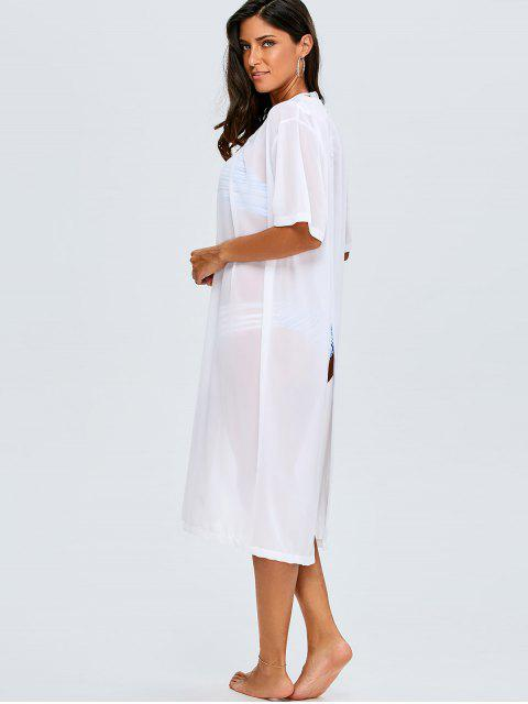 chic Back Slit Chiffon Cover Up For Swimwears - WHITE ONE SIZE(FIT SIZE XS TO M) Mobile