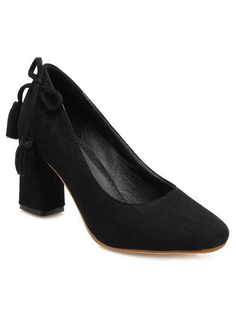 shop Block Heel Tassels Pumps - BLACK 37 Mobile