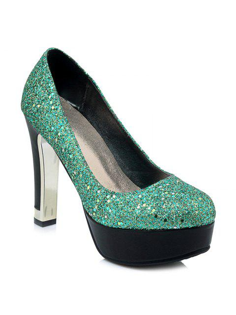 trendy Glitter Round Toe Pumps -   Mobile
